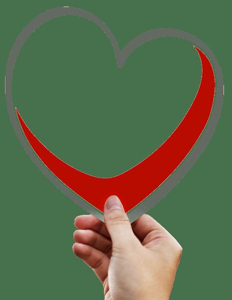 Eine Hand hält eine Grafik mit einem Herz in Rot und Grau in der Hand