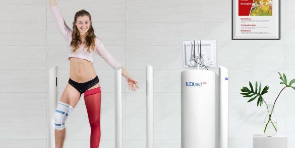 Mädchen mit dem Jobst LEXpert Beinscanner für kontaktloses kompressionsstrümpfe